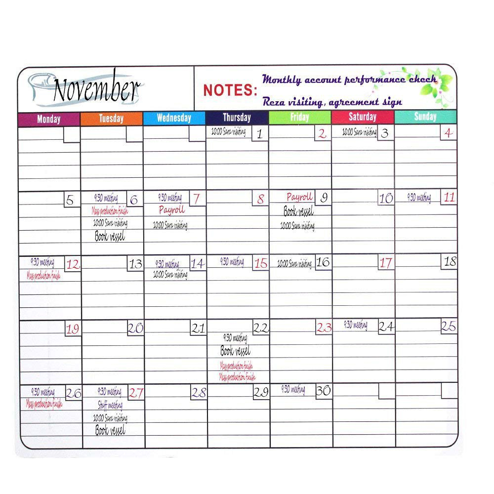 Bieco 36'' x 24'' Jumbo Reusable Monthly Dry Erase Wall Calendar Whiteboard Organizer Planner for Home Office Business Class Room Dorm, Includes 3 Markers,1 Erase Cloth Reg,1 Hook