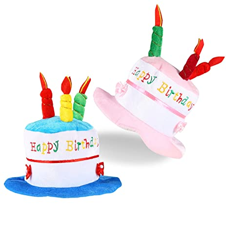 ONEDONE Happy Birthday Cake Novelty Hat With Candles For Children Kids 2 Pack