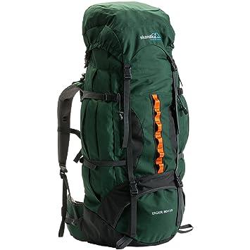 skandika Eiger 80+10 litros - mochila trekking/montañismo - peso 2,8 Kg - protector lluvia - siibato de emergencia (verde): Amazon.es: Deportes y aire libre