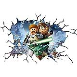 LEGO Star Wars V004Crack pared Smash adhesivo de pared autoadhesivo Póster Arte de la pared Tamaño 1000mm de ancho x 600mm de profundidad (Tamaño Grande)