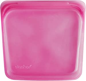 Stasher Re-Usable Food-Grade Platinum Silicone Sandwich Bag for Eating From/Cooking, Freezing and Storing In/Organising/Travelling, 19.05 cm x 19.05 cm, Raspberry