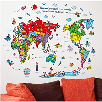 Amazon ussore 1pc art animal world map wall sticker decal for ussore 1pc art animal world map wall sticker decal for home living room bedroom kitchen office gumiabroncs Gallery
