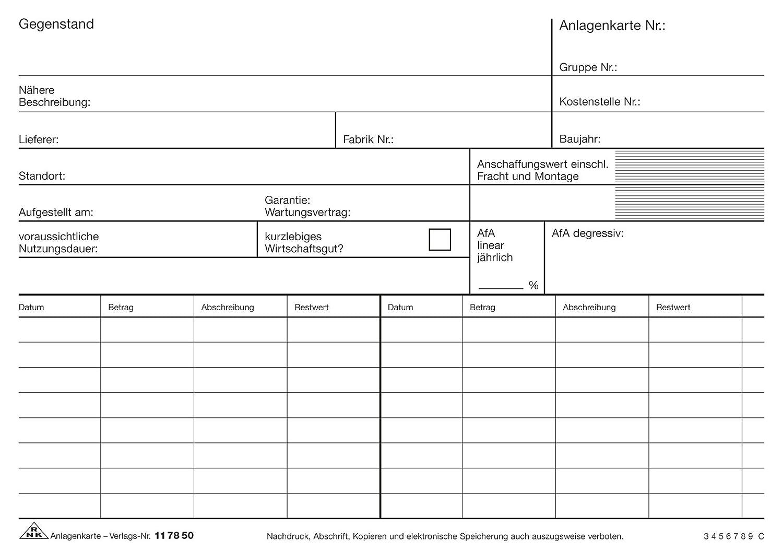 Anlagenkarte A5 weiß 100St: Amazon.de: Bürobedarf & Schreibwaren
