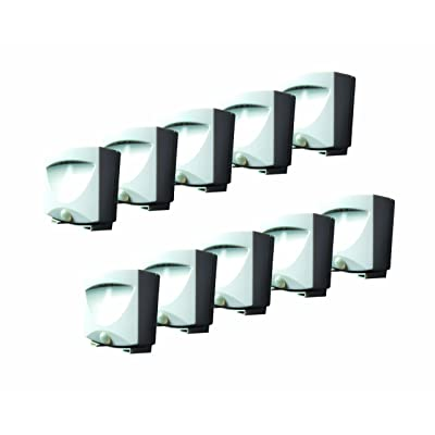 MAXSA Innovations 41041 White 10 Pack 10-Pack: Battery-Powered Motion-Activated Outdoor Night-Light, 10 Pack: Automotive