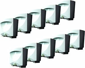 MAXSA 41041 Motion Activated Weatherproof Indoor / Outdoor Wireless LED Night Lights, (10-Pack) White