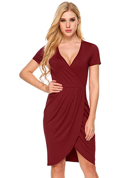 Image Unavailable. Image not available for. Color  ANGVNS Womens Sexy Deep V  Neck Asymmetrical Bodycon Wrap Dress with Front Slit e9d5f055a