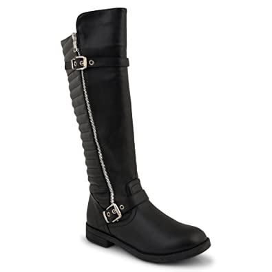 cf5465da5ed Womens Ladies Low Flat Heel Knee High Calf Stretch Boots Black Zipped  Buckle Shoe Size 3