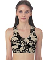 CowCow Womens Black Skulls Pattern Sport Bra
