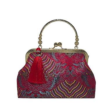 Bolso de bordado de la borla del bolso del bordado del estilo de la moda de la muchacha de las mujeres ☚Longra