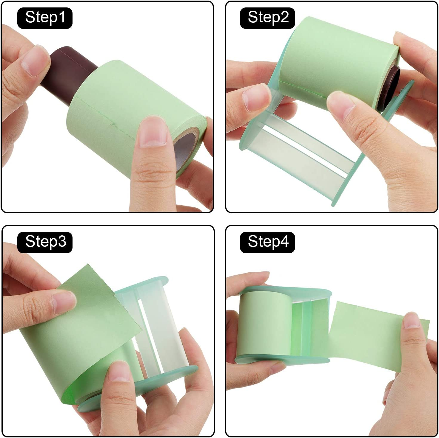 7 Pieces Totally Green and Yellow Roll Sticky Notes Self-Stick Notes Full Adhesive Notes Self-Determined Length Sticky Notes with Tape Dispenser and Gel Ink Pen for Office Home School Supplies