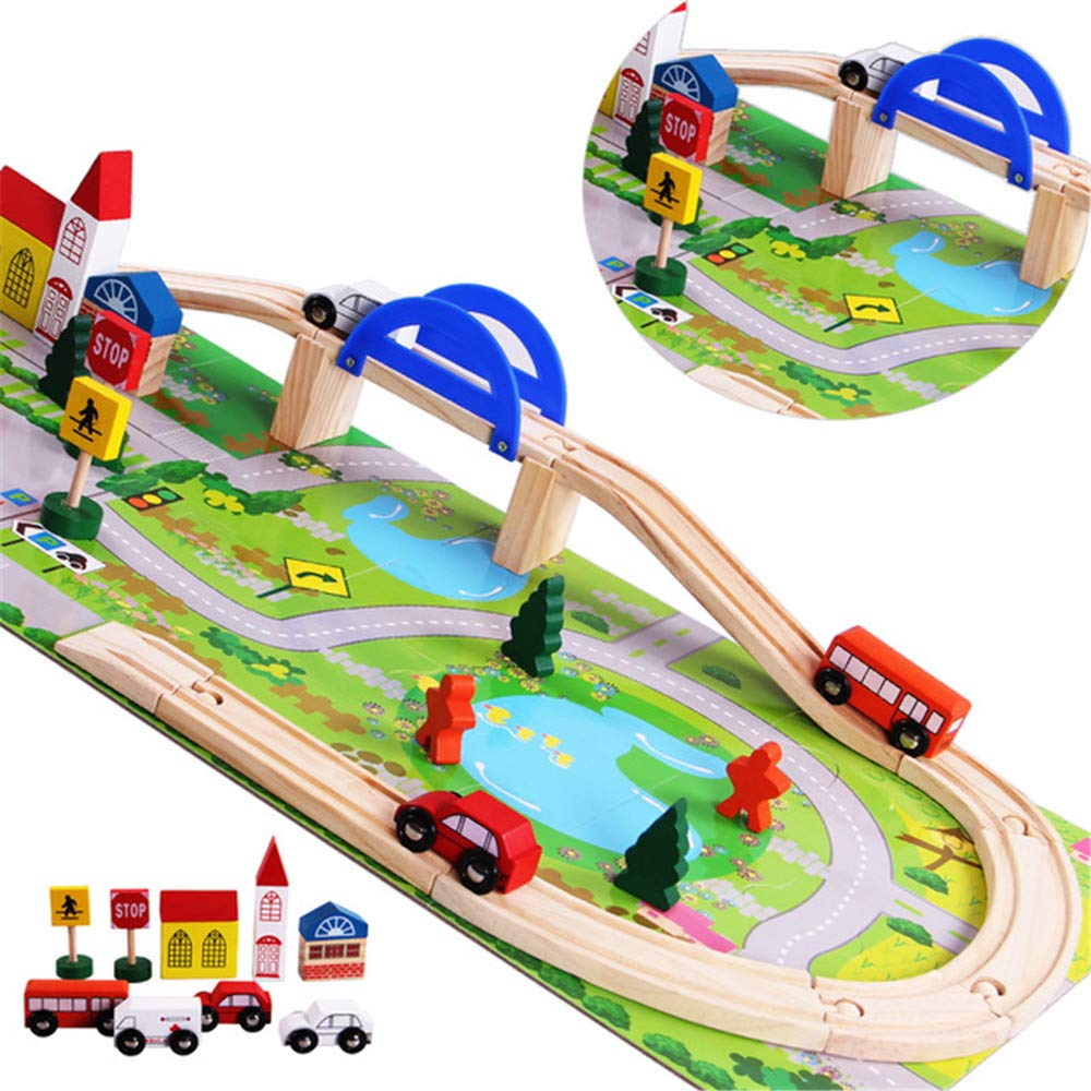 Christmas DIY Wooden Toys City Overpass Rail Railroad Car Train Track Urban Set Assembling Building Block Toys Educational Teaching Toys Kids Children Gift Present for Children 3 Years up by Miya