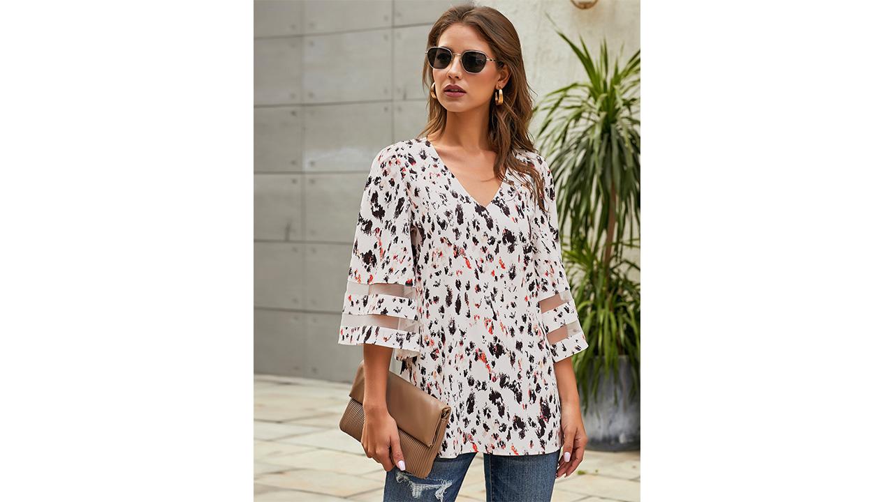 LookbookStore Women's V Neck Mesh Panel Blouse 3/4 Bell Sleeve Loose Top Shirt 7