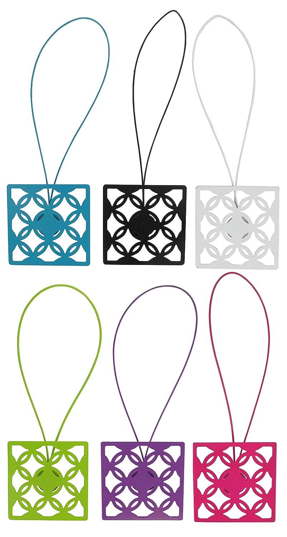 EVIDECO L2883102 Metal Geometric Tieback with Magnet Circles-Shiny White Luance