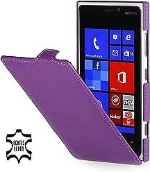 StilGut Ultraslim, housse exclusive de cuir véritable pour le Nokia Lumia 920, pourpre