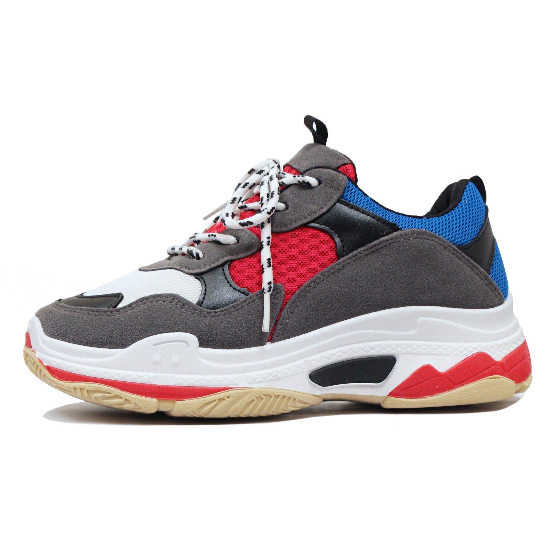 Guilty Heart | Women's Retro Multimaterial Daddy Platform Walking Fashion Sneakers (7.5 B(M) US, 6 Greyblue)