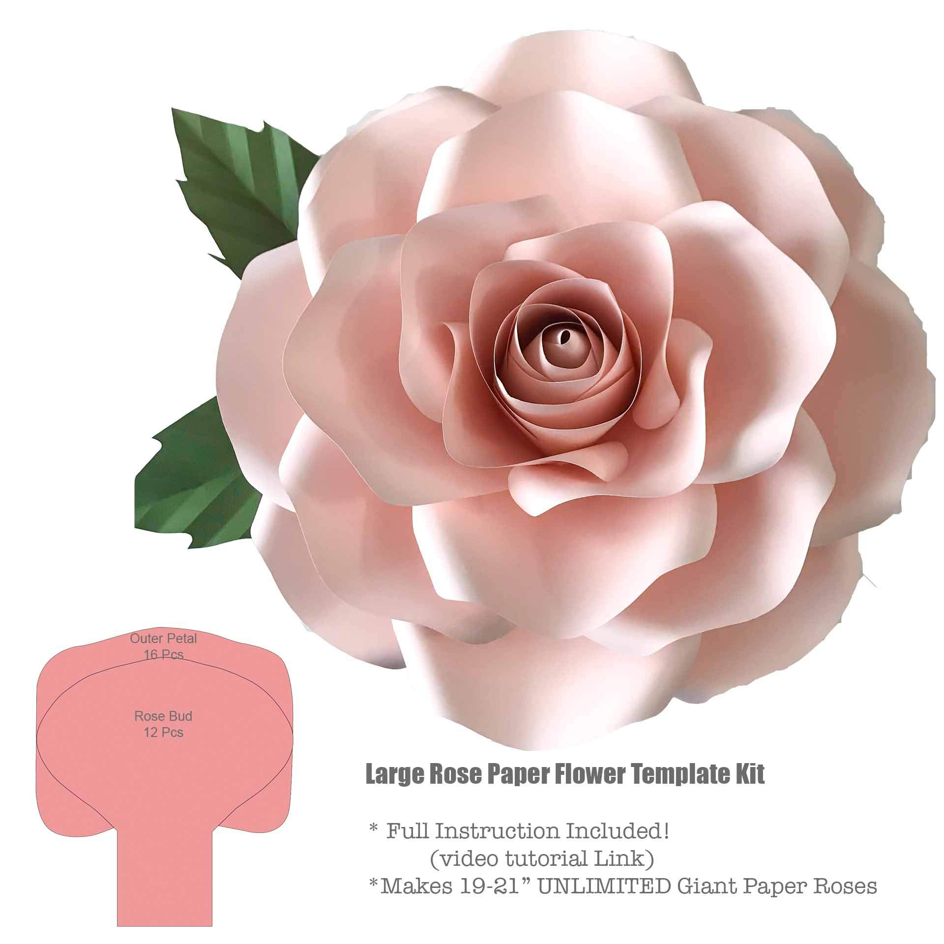 Giant Large Rose 19-21'' Paper Flower Template/Stencils Kit