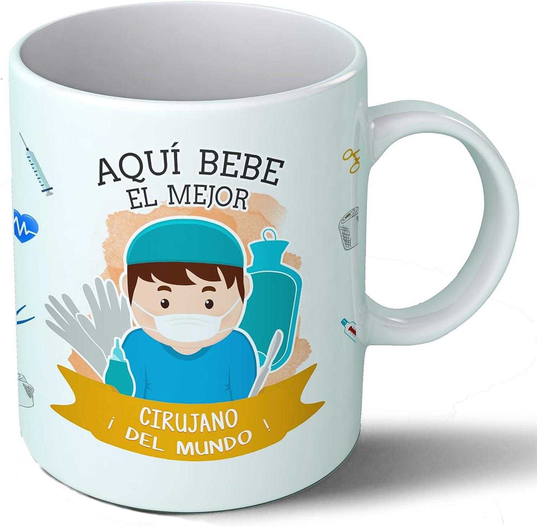 Planetacase Taza Desayuno Aquí Bebe el Mejor Cirujano del Mundo Regalo Original Cirujano quirófano Ceramica 330 mL
