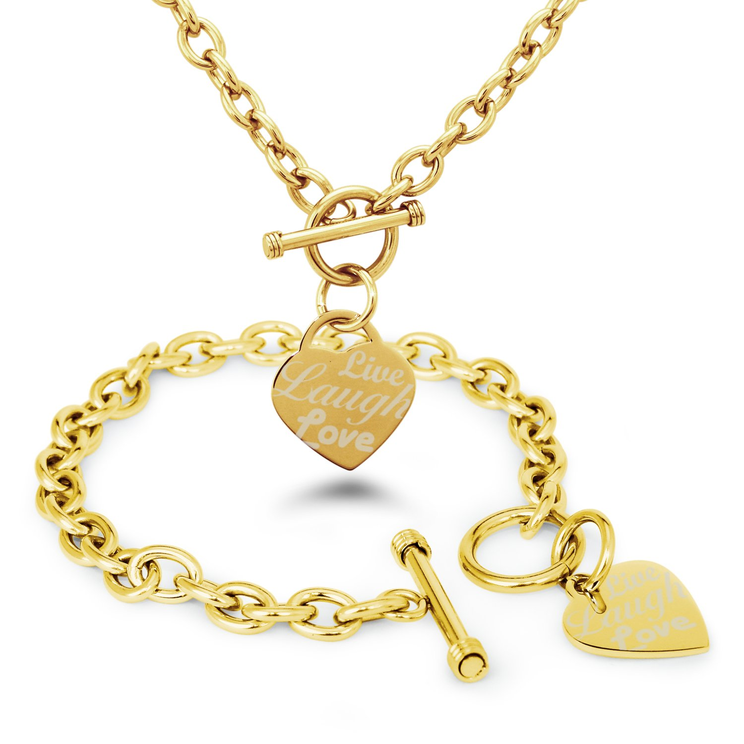 Tioneer Gold Plated Stainless Steel Live Laugh Love Engraved Heart Tag Charm, Bracelet Necklace Set