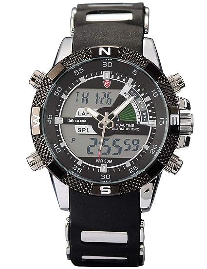Shark SH042 - Reloj Hombre de Cuarzo, Correa de Goma Negra: Amazon.es: Relojes