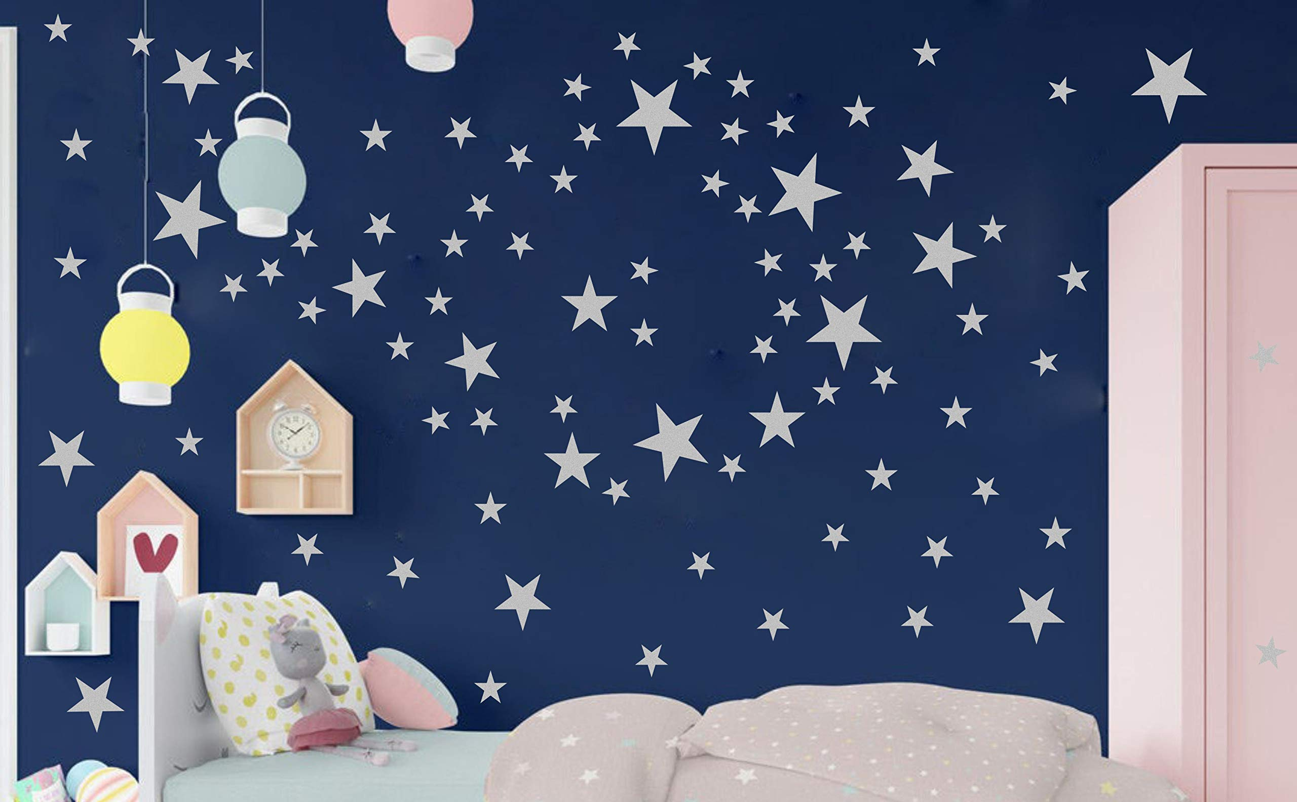 Nursery Decor Easy to Apply PREMYO Set of 25 Cloud Wall Stickers Kids Decals for Bedrooms Girls Boys Pastel Blue