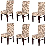 Moldiy Super Fit Polyester Stretch Removable Washable Jacquard Dining Chair Slipcovers Seat Protector Covers Non Fade(Pack of 6,Champagne and Coffee)