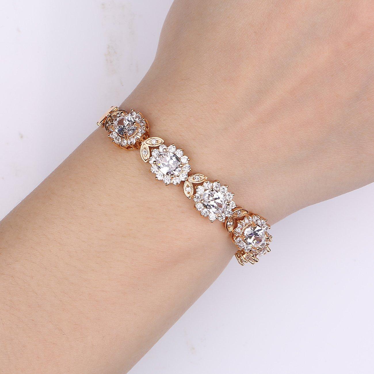 GULICX Bracelet Femme Fleur de Princess Diana Plaqu/é Or//Platine Cubique Zircon CZ avec Cristal Swarovski El/ément