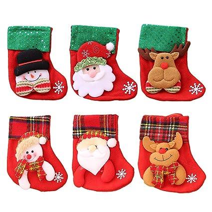 6 unids pequeños Calcetines de Navidad árbol de Navidad Chimenea Decoraciones de la Puerta Colgando Bolsas