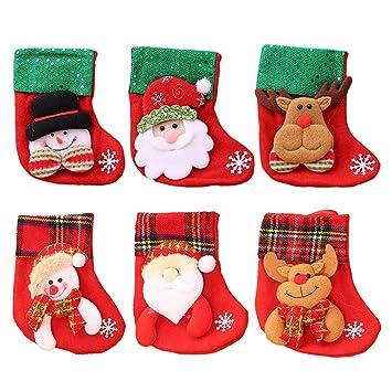 6 unids pequeños Calcetines de Navidad árbol de Navidad Chimenea Decoraciones de la Puerta Colgando Bolsas de Regalo de Caramelo: Amazon.es: Hogar