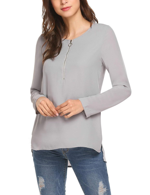 Finejo Damen Elegant Blusen Tunika Blusenshirt Langarmshirt V Ausschnitt  Oberteile T-Shirt mit Rei ß verschluss Vorne 8c1d8c1234