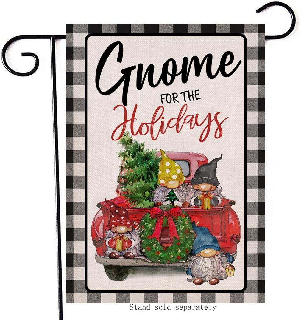 Artofy Gnome for the Holidays Decorative Small Garden Flag Buffalo Plaid Check, Christmas House Yard Outside Red Truck Decor Xmas Tree Home Decoration Seasonal Outdoor Flag Vertical Double Sided 12x18