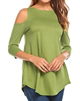 1739316cd50fc6 Aceshin Women s Tunic Tops 3 4 Sleeve Cold Shoulder Blouse Loose Tunic Tops  Shirt