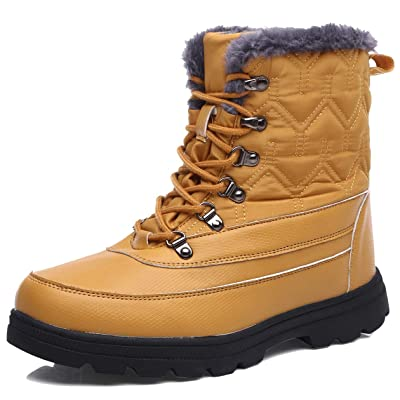 EXEBLUE Men Women Winter Snow Boots Water Resistant Lace up Winter Shoes Ankle High Booties Warm | Snow Boots