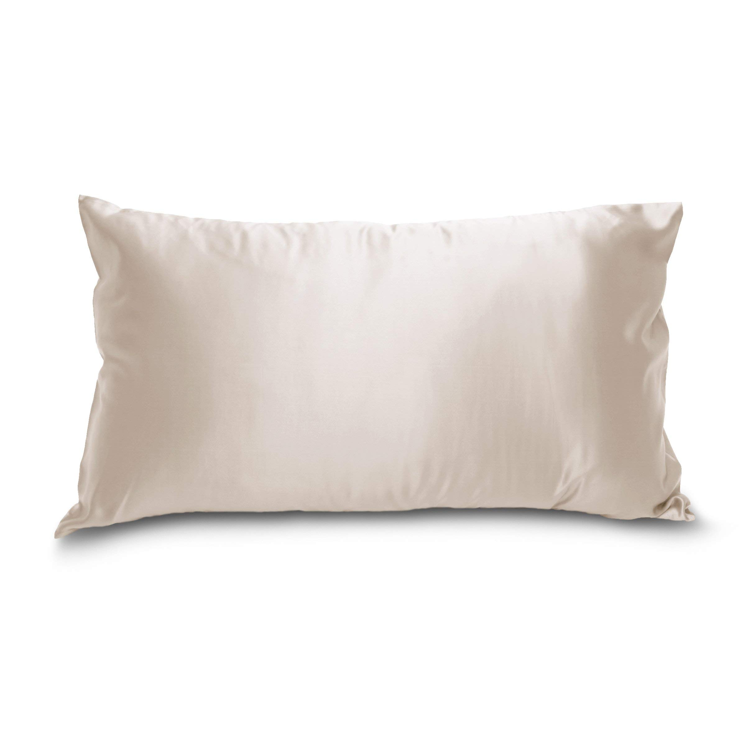 King Pillowcase (20'' x 36'') - Sand - Deluxe 22 Momme 100% Pure Mulberry Charmeuse Natural Bedding - Oeko-TEX Certified