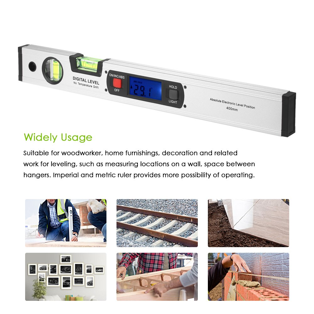 Digital Spirit Level-Angle Finder 4 ✖ 90° Range(Total 360°),Diglife 415mm Level Digital LCD Inclinometer, Upright Magnetic Bottom,with 2 Bubble Block, 4 Strong Integrated Magnets(Silver)