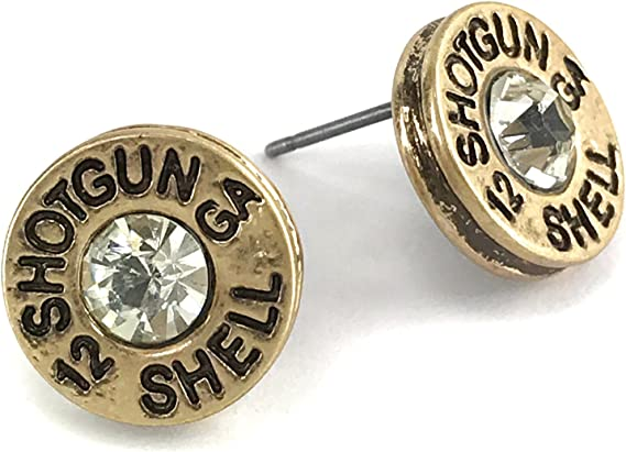 Western Peak Hammered 12 Gauge Shotgun Bullet Shell Earrings