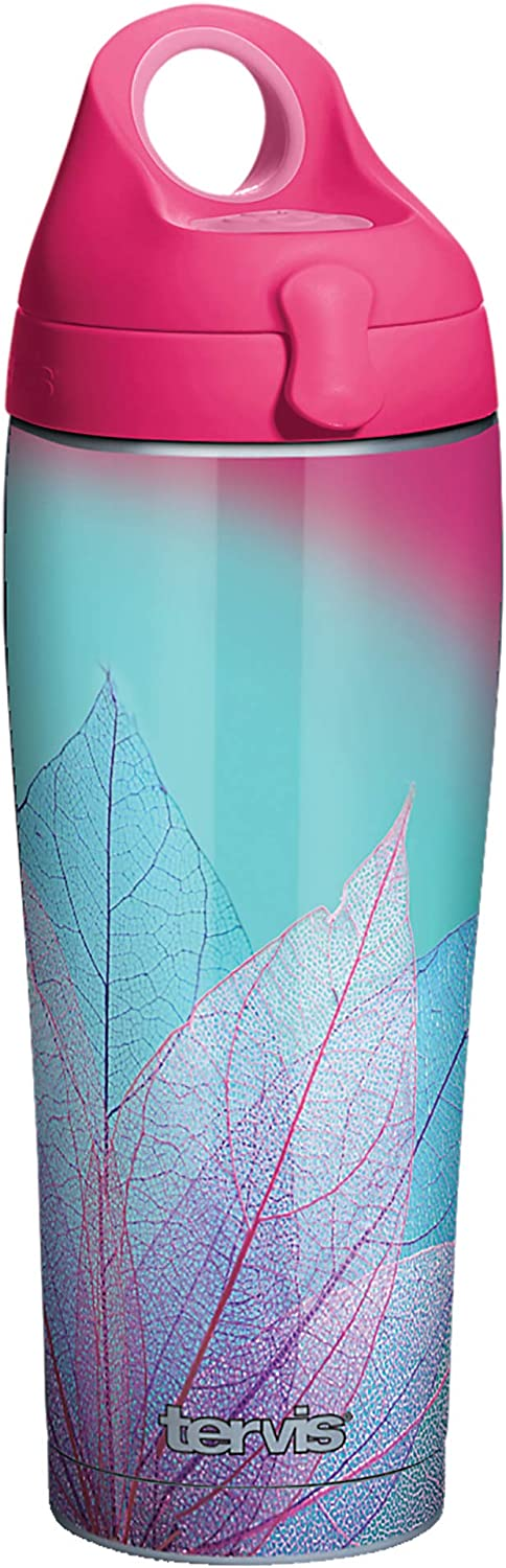 Tervis Turquoise Leaves Insulated Tumbler, 24oz Water Bottle, Stainless Steel