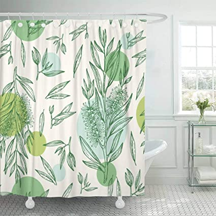 Emvency Fabric Shower Curtain With Hooks Green Drawing Tea Tree Cosmetics And Medical Plant Oil