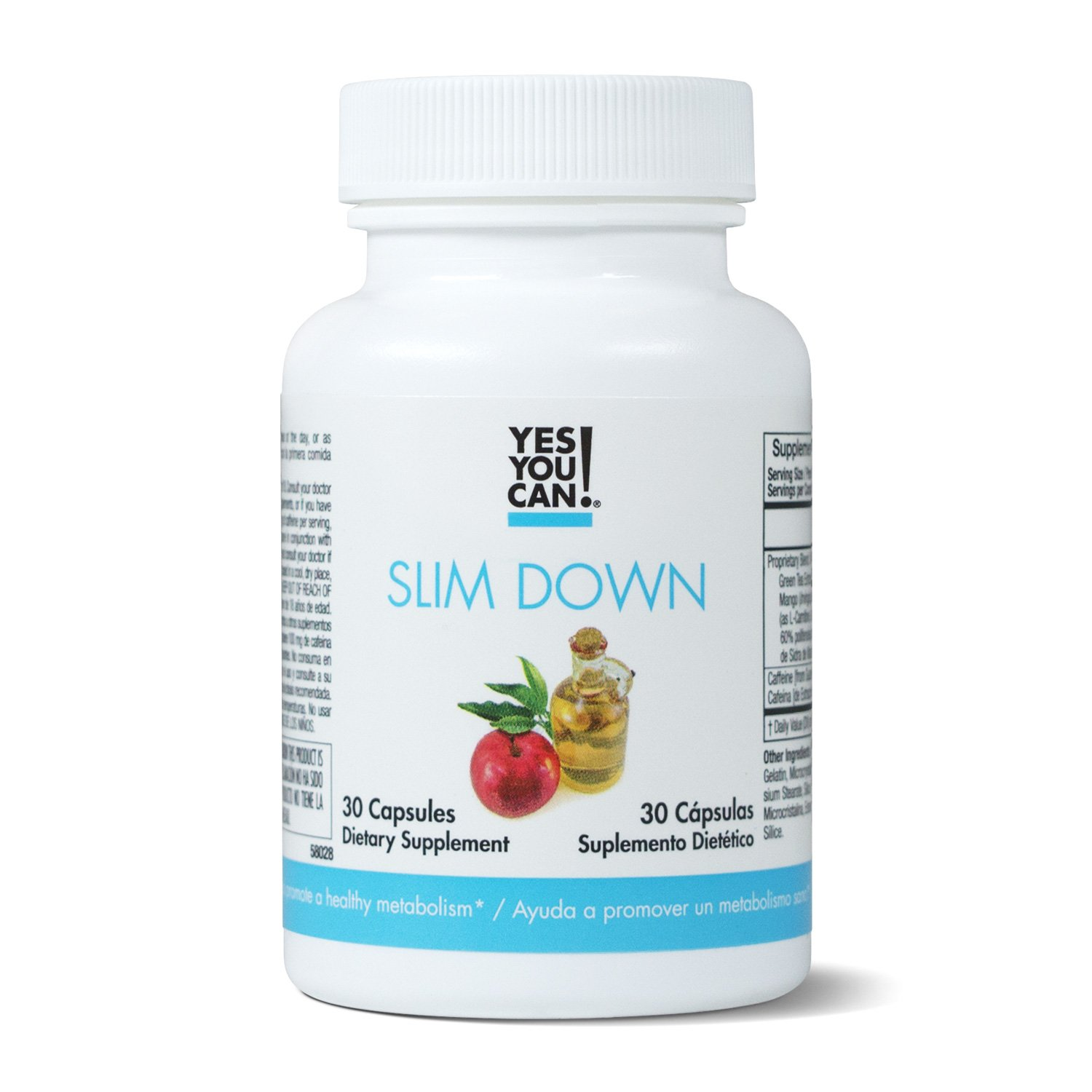 Yes You Can! Slim Down - Boost your Metabolism, increase thermogenesis. African mango, L-Carnitine, apple cider vinegar, green tea extract. Quemador de Grasa - 30 Capsules by Yes You Can