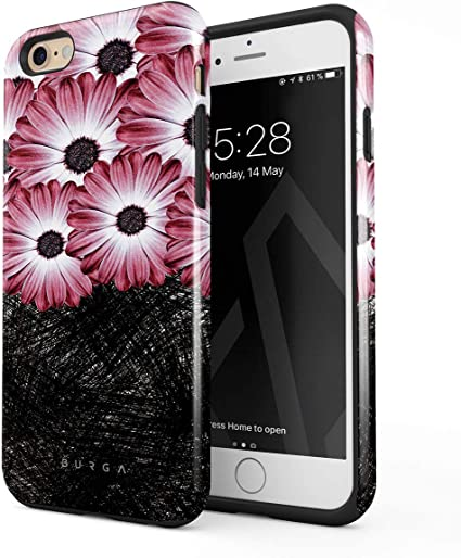 BURGA Cover per iPhone 6 Plus / 6s Plus - Fiori Nero Rosa Margherita Belle per Donna Pink Daisy Robusto Resistente agli Urti Ed A Doppio Strato ...
