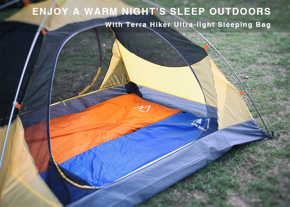 Terra Hiker Saco de Dormir Ultraligero, Saco de Dormir para Acampar, Saco de Dormir de 3 Estaciones con Longitud extendida y Bolsa de compresión para ...
