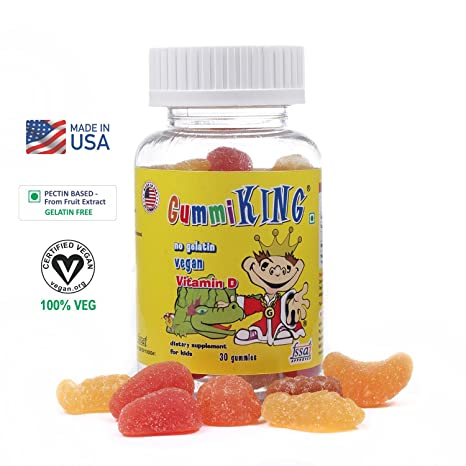 GUMMIKING Fruit-Pectin Based Vitamin D Source of Calcium Absorption Gummy  Vitamins-30 Gummies Supplements