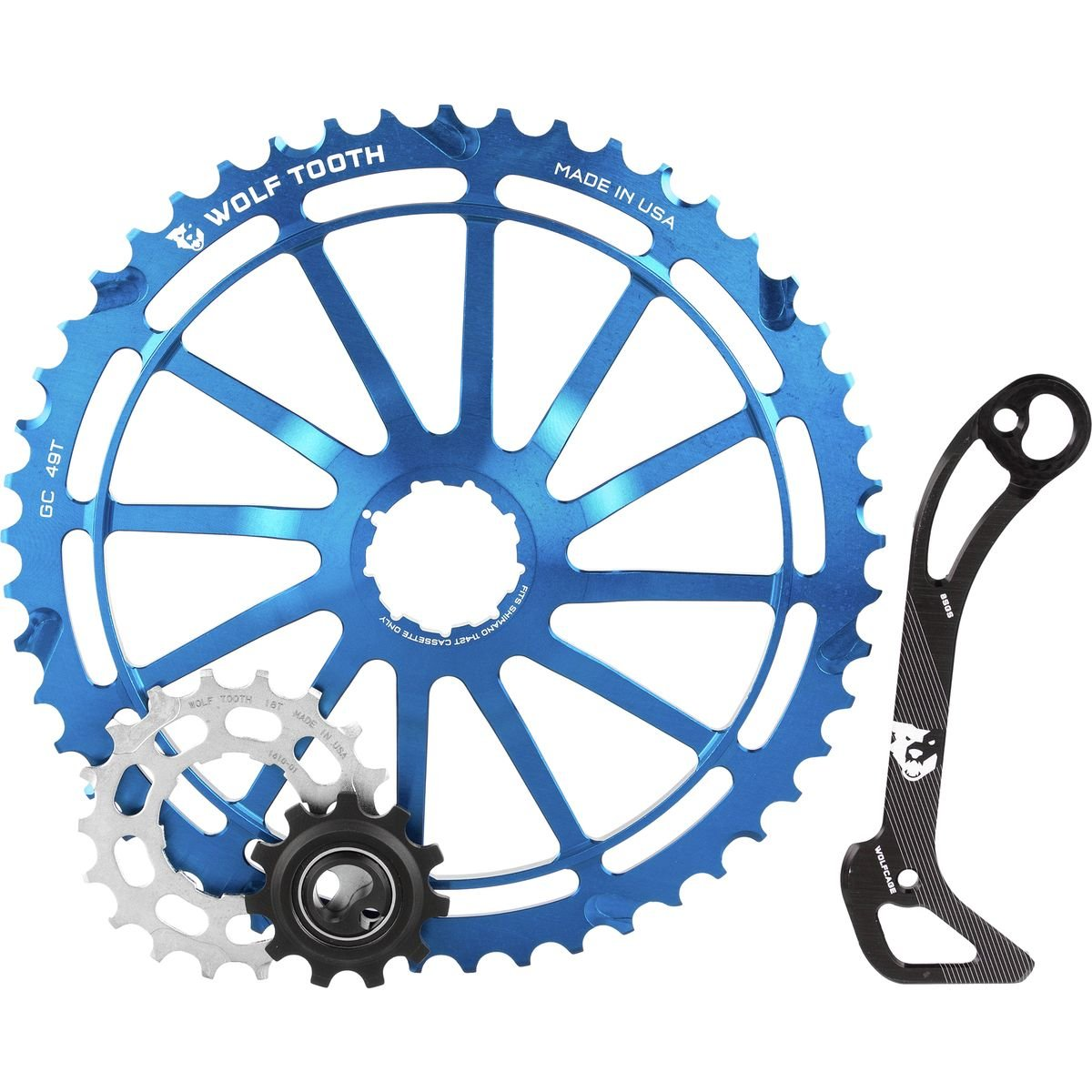 Wolf Tooth Components WolfCage Combo Pack: Includes 49T Cog, 18T Cog, and Derailleur Cage, Blue by Wolf Tooth Components (Image #1)