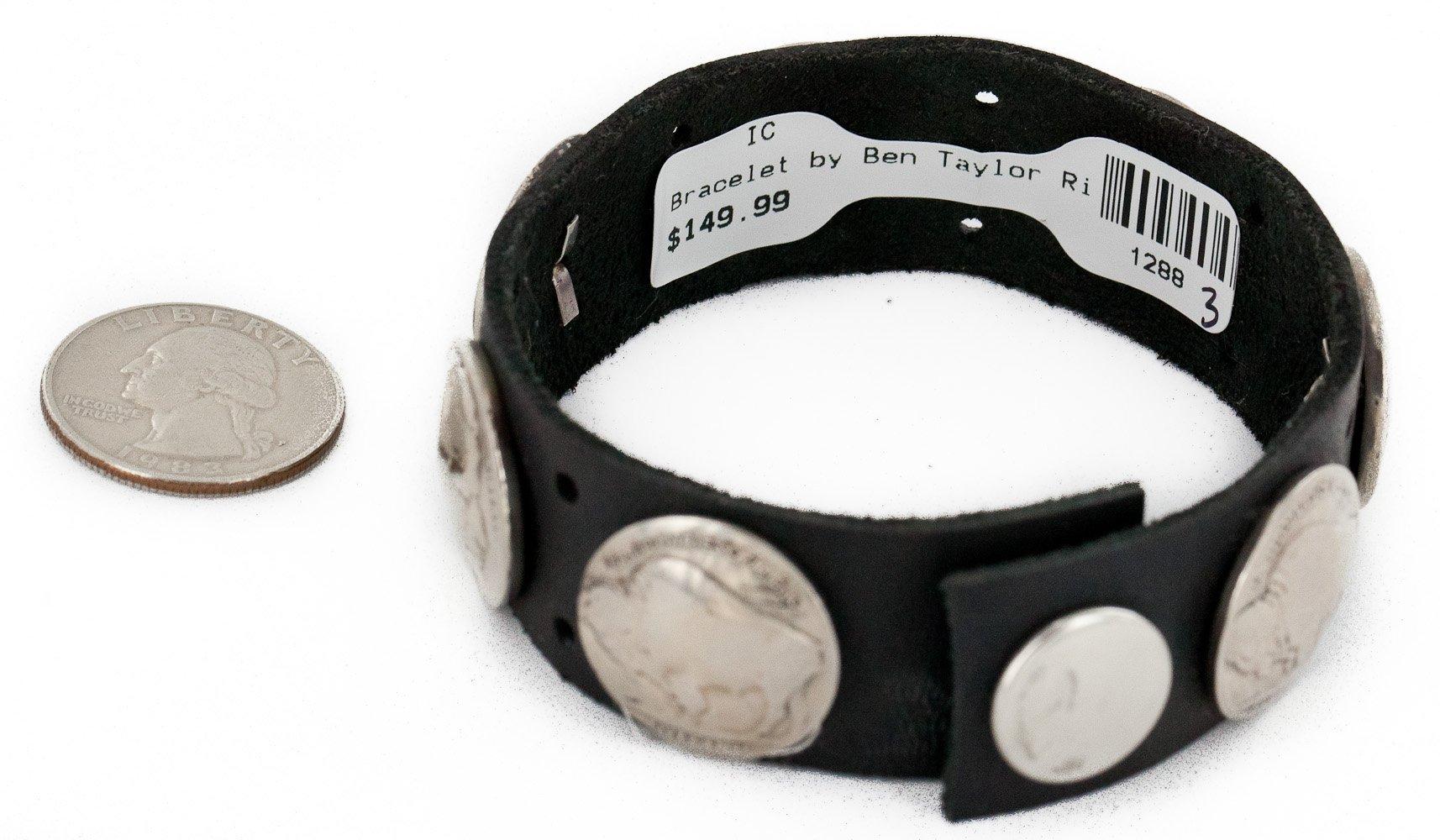 $150Tag Leather Certified Vintage Style Buffalo Nickels Navajo Native American Bracelet 1 1288-3