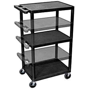 Luxor LPDUOE-B Multipurpose 3 Shelves A/V Utility Cart with Electric - Black