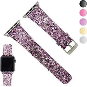 Seoaura Compatible Apple Watch Leather Band 38mm 40mm Woman, Bling Glitter Strap Replacement iWatch Series 5 4 3 2 1 Sport Edition (Light Pink, 42mm/44mm)