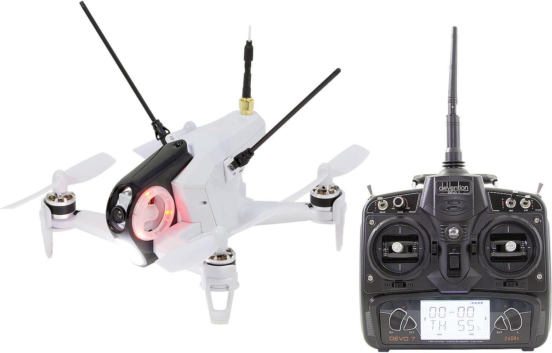 Walkera 15004400FPV Racing de dron cuadricóptero Rodeo 150RTF con cámara HD, batería, Cargador y Control Remoto Devo 7, Color Blanco