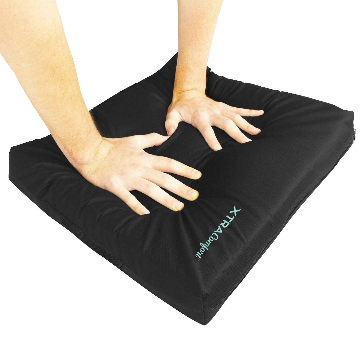 Wheelchair Cushion Xtra-Comfort Series - Gel Seat Pad for Coccyx, Back Support, Sciatica and Tailbone Pain Relief - Waterproof Cover + 4 Layer Foam Support - for Pressure Sores and Ulcers