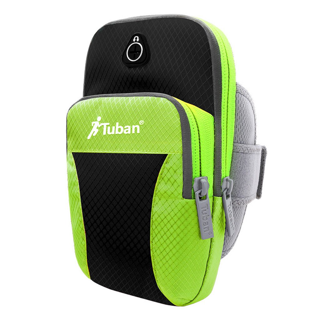 Best Cell Phone Smartphone Android Phone Waterproof Armband Arm Bag For Running Fishing Cycling Outdoor Exploration Camping Mountaineering Hiking I Dumbbell Training Trekking (Black-green, L)