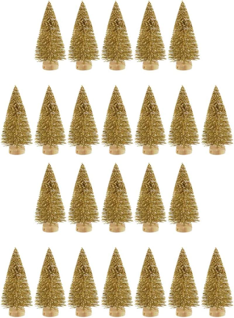 Blue-Green SUNREEK 24 Pieces Artificial Mini Christmas Sisal Snow Frost Trees with Wood Base Bottle Brush Trees Plastic Winter Snow Ornaments Tabletop Trees for Christmas Party Home Decoration