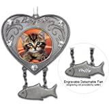 Cat Memorial Ornament - Heart Shaped Photo Ornament with Hanging Engravable Fish Charm - Pet Sympathy Gift - In Memory of Cat - Pet Memorial Gift